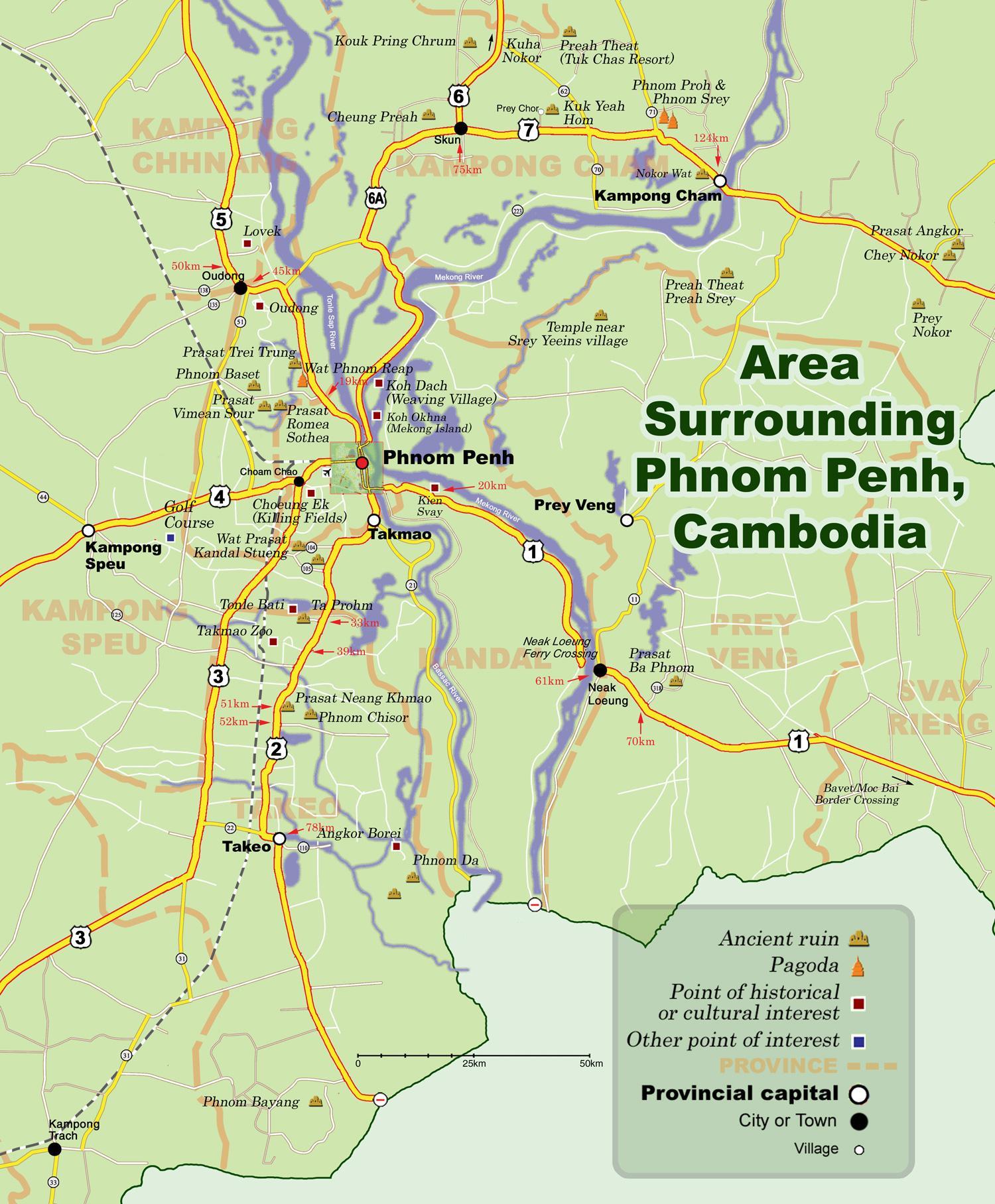 kambodsja kart Phnom penh i Kambodsja kart   Kart over phnom penh i Kambodsja  kambodsja kart
